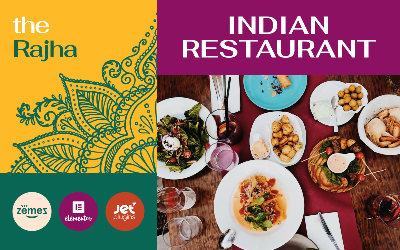 """Rajha - Indian Restaurant"" 响应式WordPress模板 #101013"