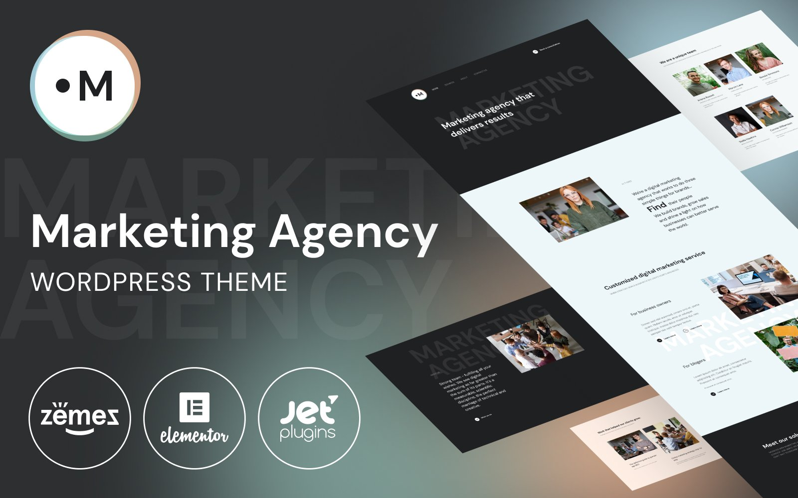 Responsive Marketing Agency -  Website Template for marketing services Wordpress #101015
