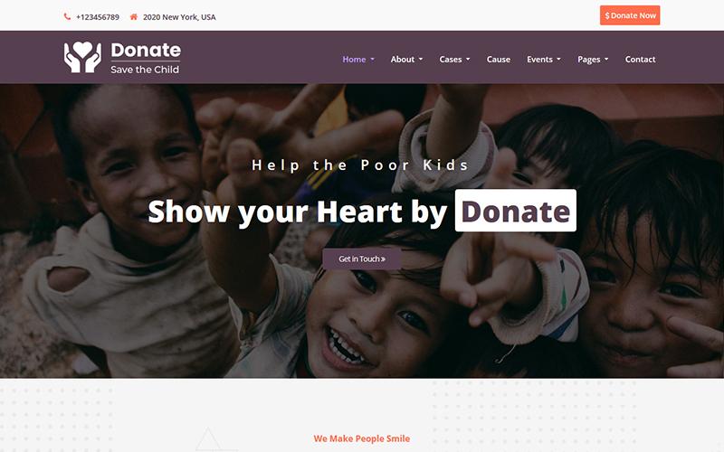 Responsywny szablon strony www Donate - Charity HTML5 #101008