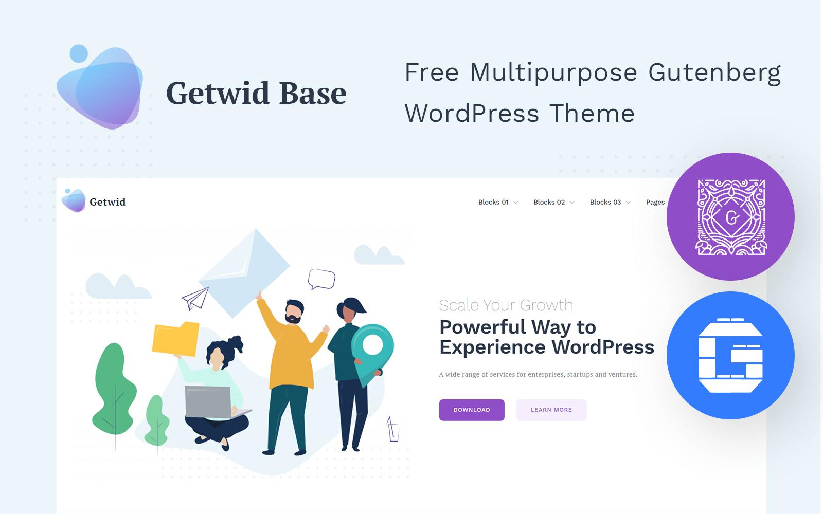 """Responzivní WordPress motiv """"Getwid Base"""" #101019"""