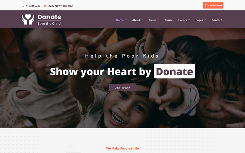 "Website Vorlage namens ""Donate - Charity HTML5"" #101008"