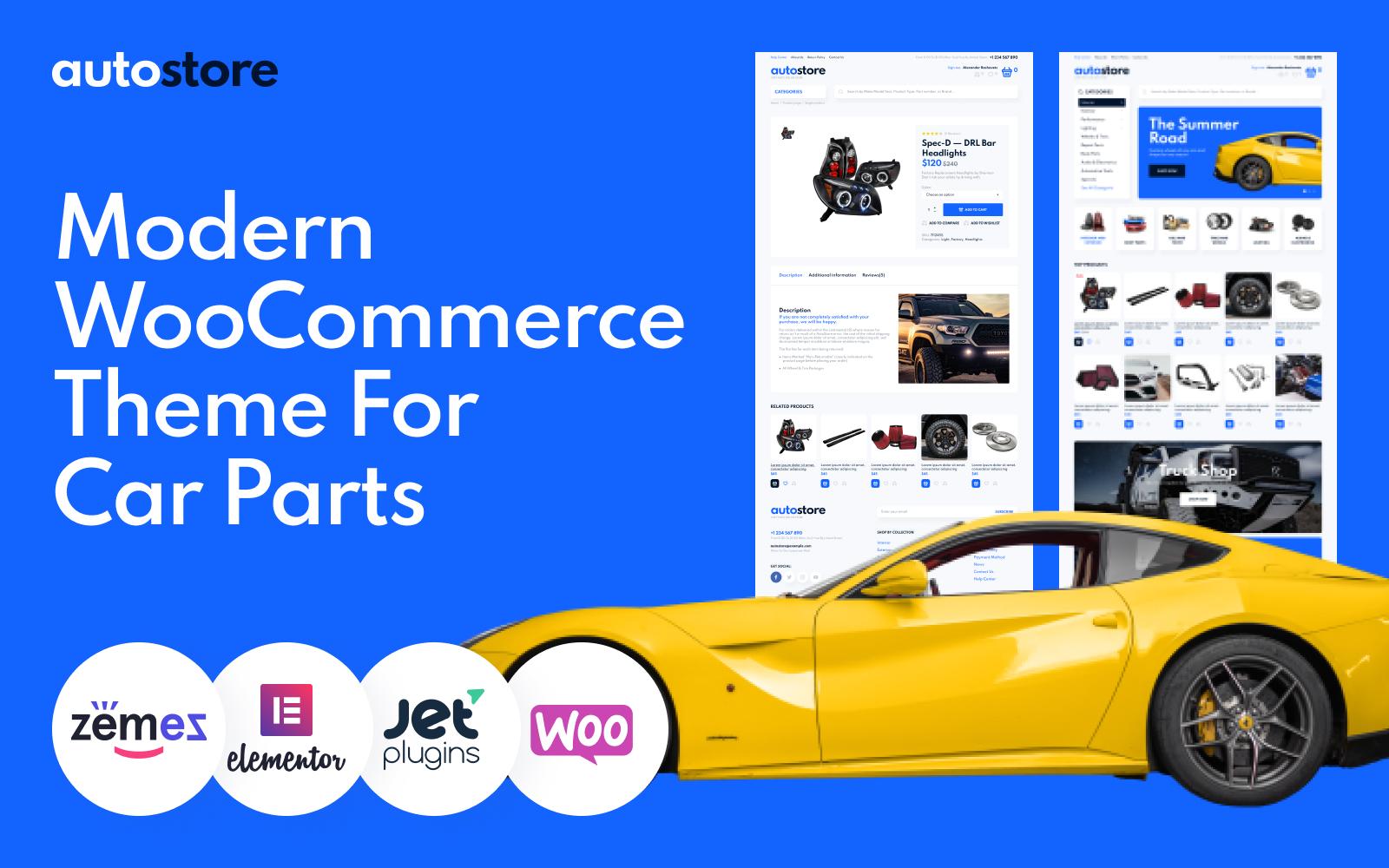 "WooCommerce Theme namens ""AutoStore - Car Parts Elementor"" #101018"
