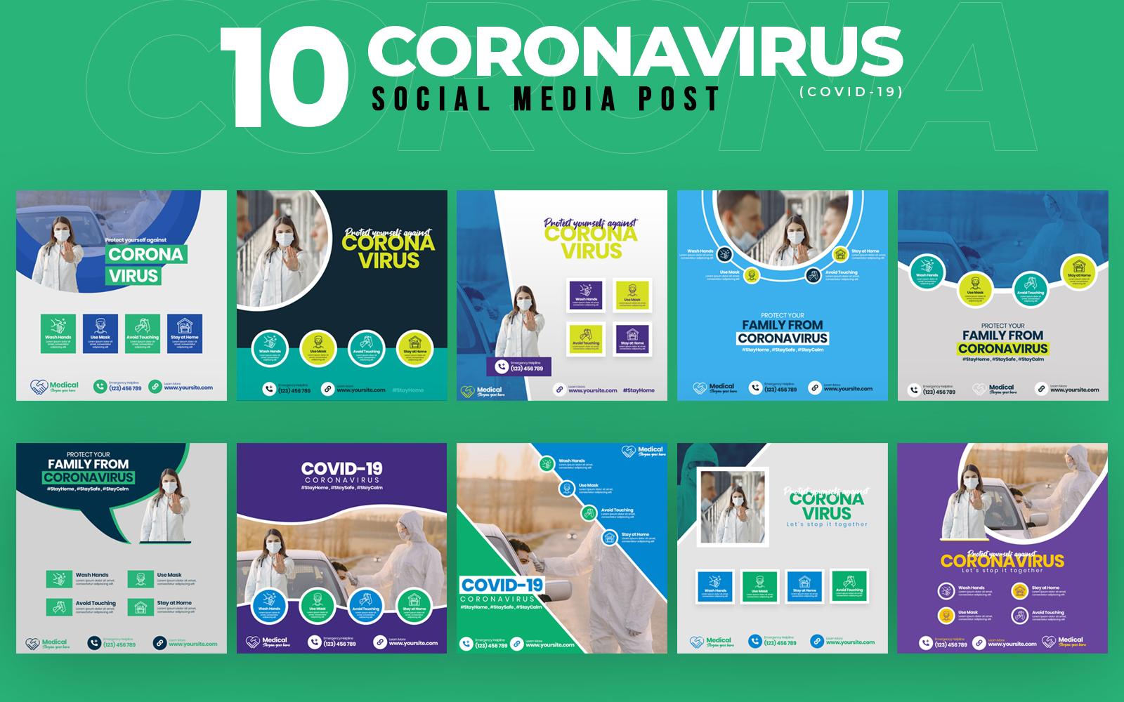 Covid-19 & Coronavirus 10 Post Template Social Media