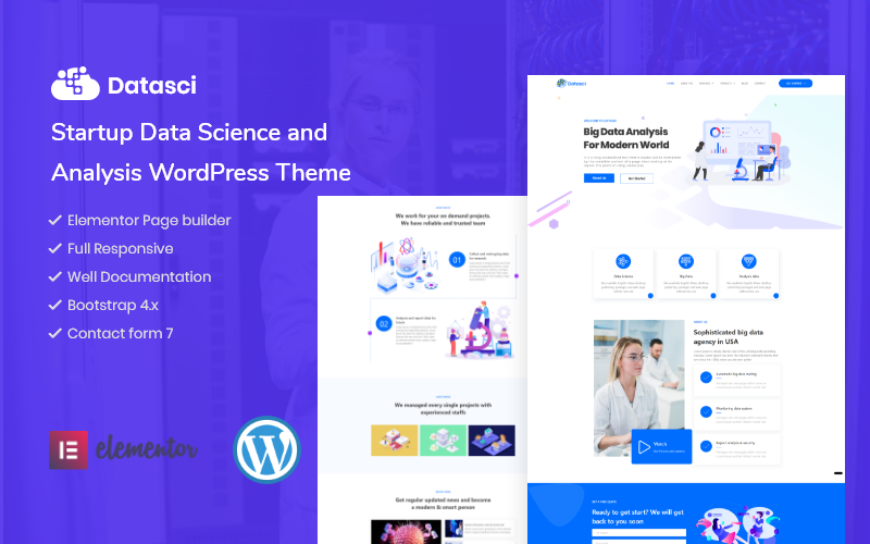 Datasci - Startup Data Science & Analytics Elementor WordPress Theme