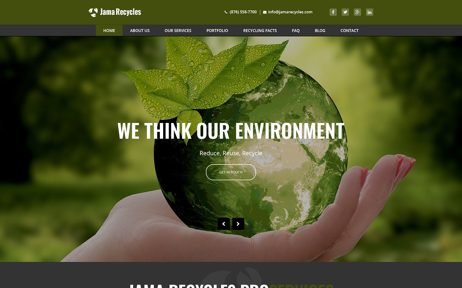 Jama Recycles - Waste Management and Recycling PSD Template