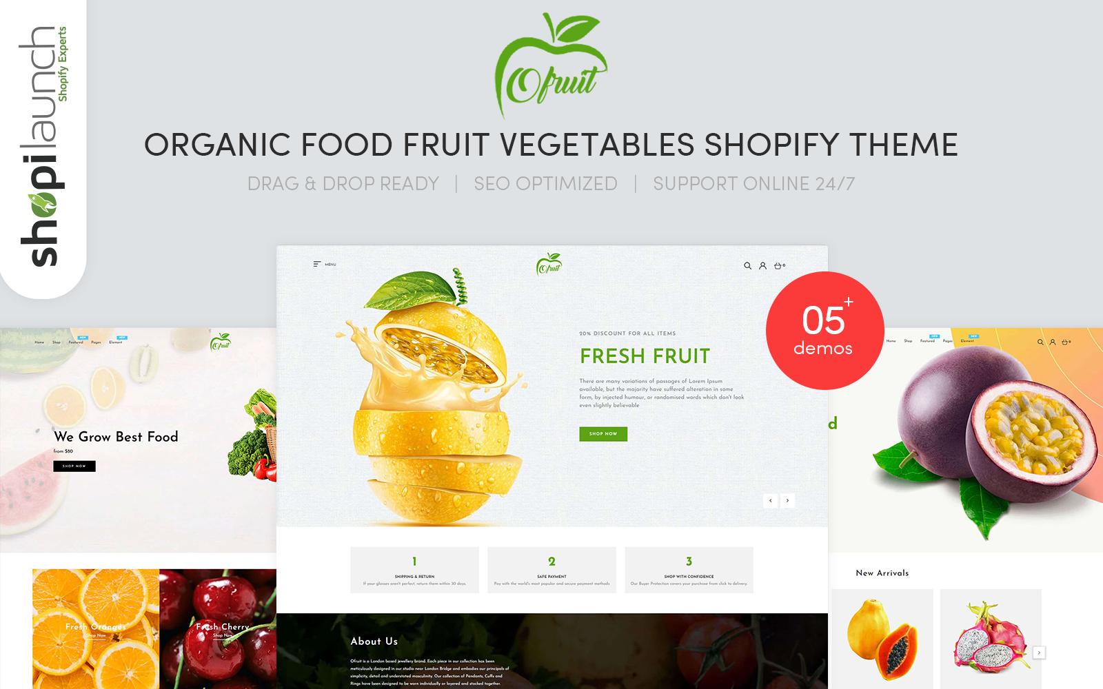 OFruit - Organic Food Fruit Vegetables Tema de Shopify №101187
