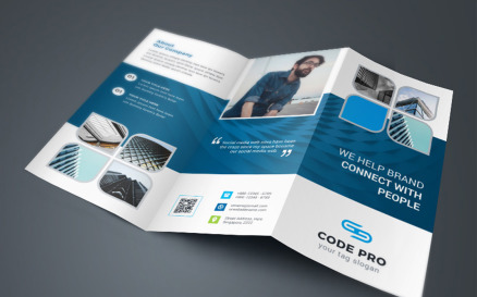 Blue-Violet Business TriFold Brochure Corporate Identity