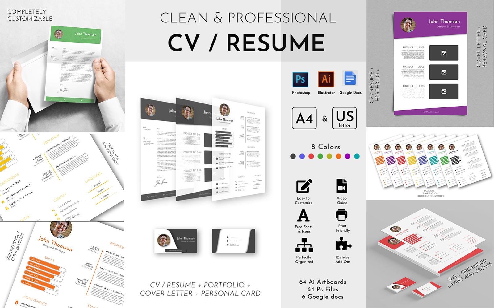 Clean & Professional CV Resume Template