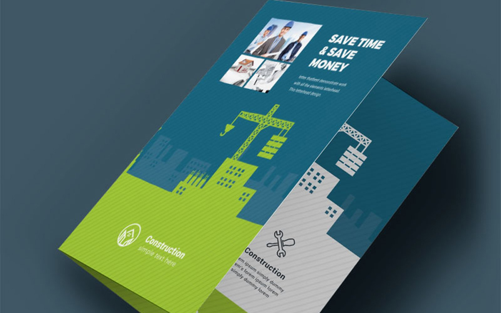 Construction BiFold Brochure With Green Blue Elemens Corporate Identity Template