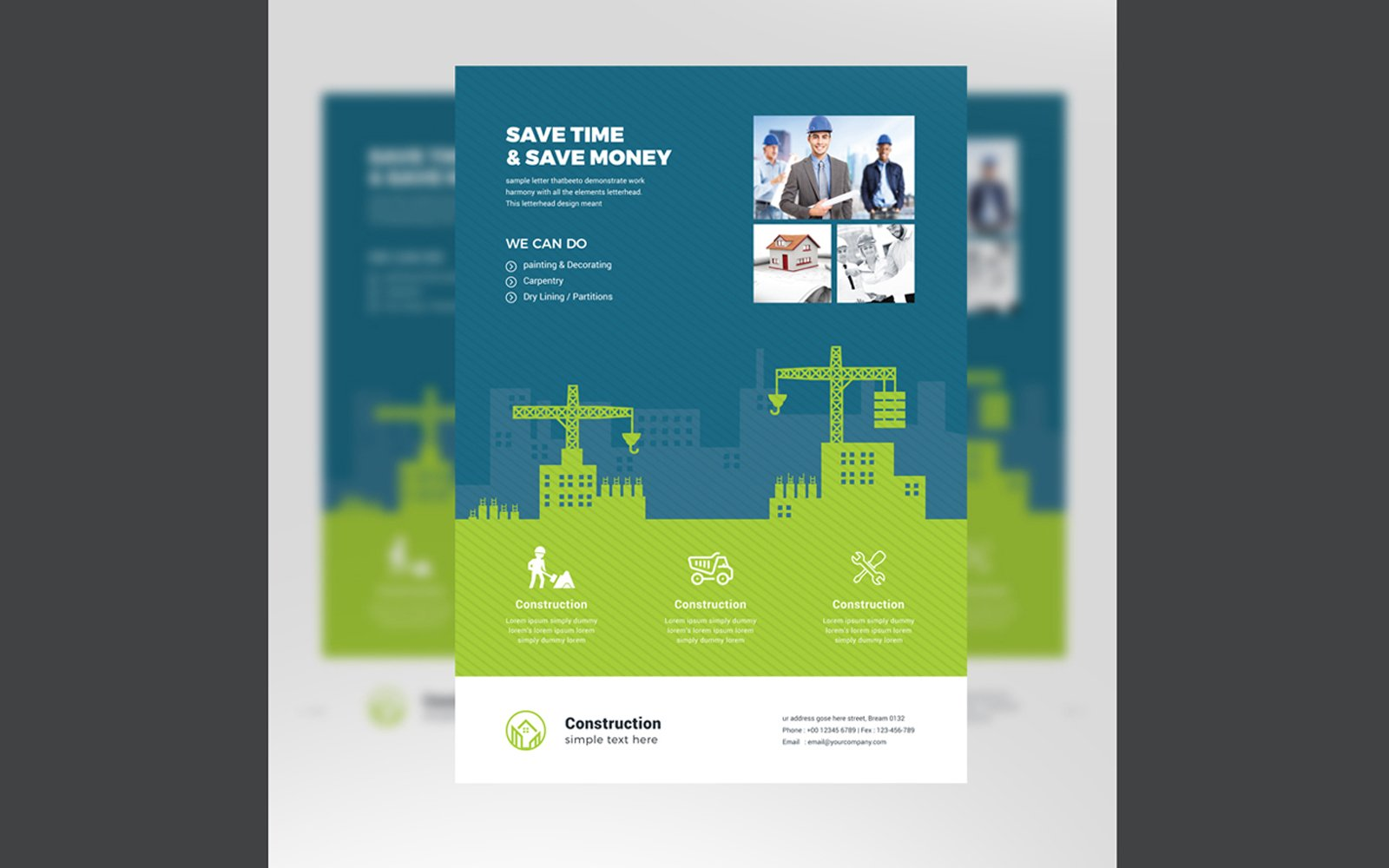 Construction Flyer With Green Blue Elemens Corporate Identity Template