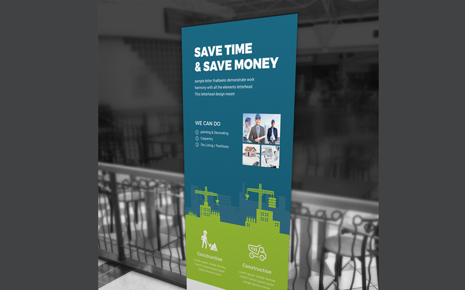Construction Rollup Banner Corporate Identity Template