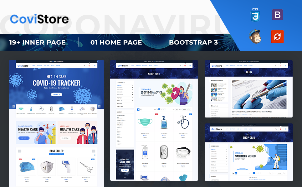 CoviStore - Medical Store E commerce Website Template