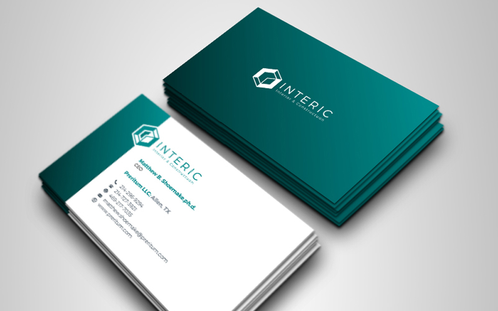 Creative Clean Business Card With Paste Accent Corporate Identity Template