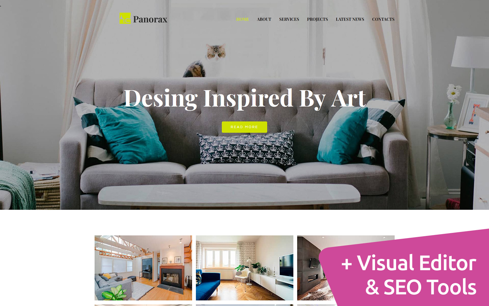 Panorax - Interior Design Moto CMS 3 Template