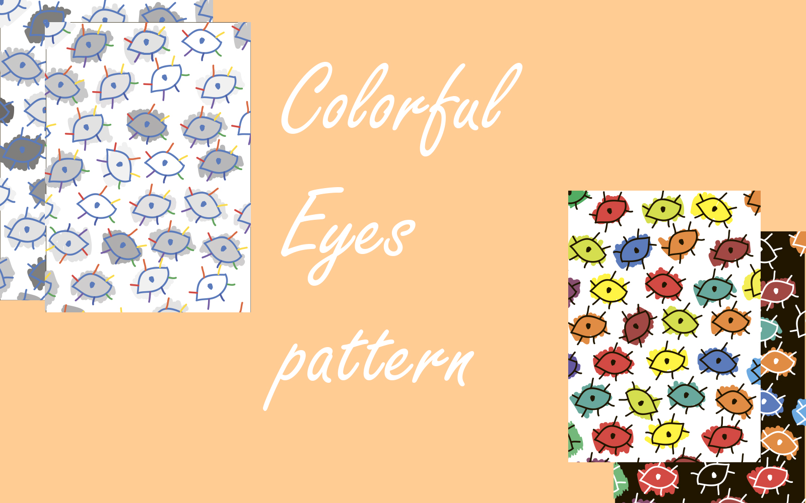 """Pattern """"Colorful with eyes"""" #101282"""