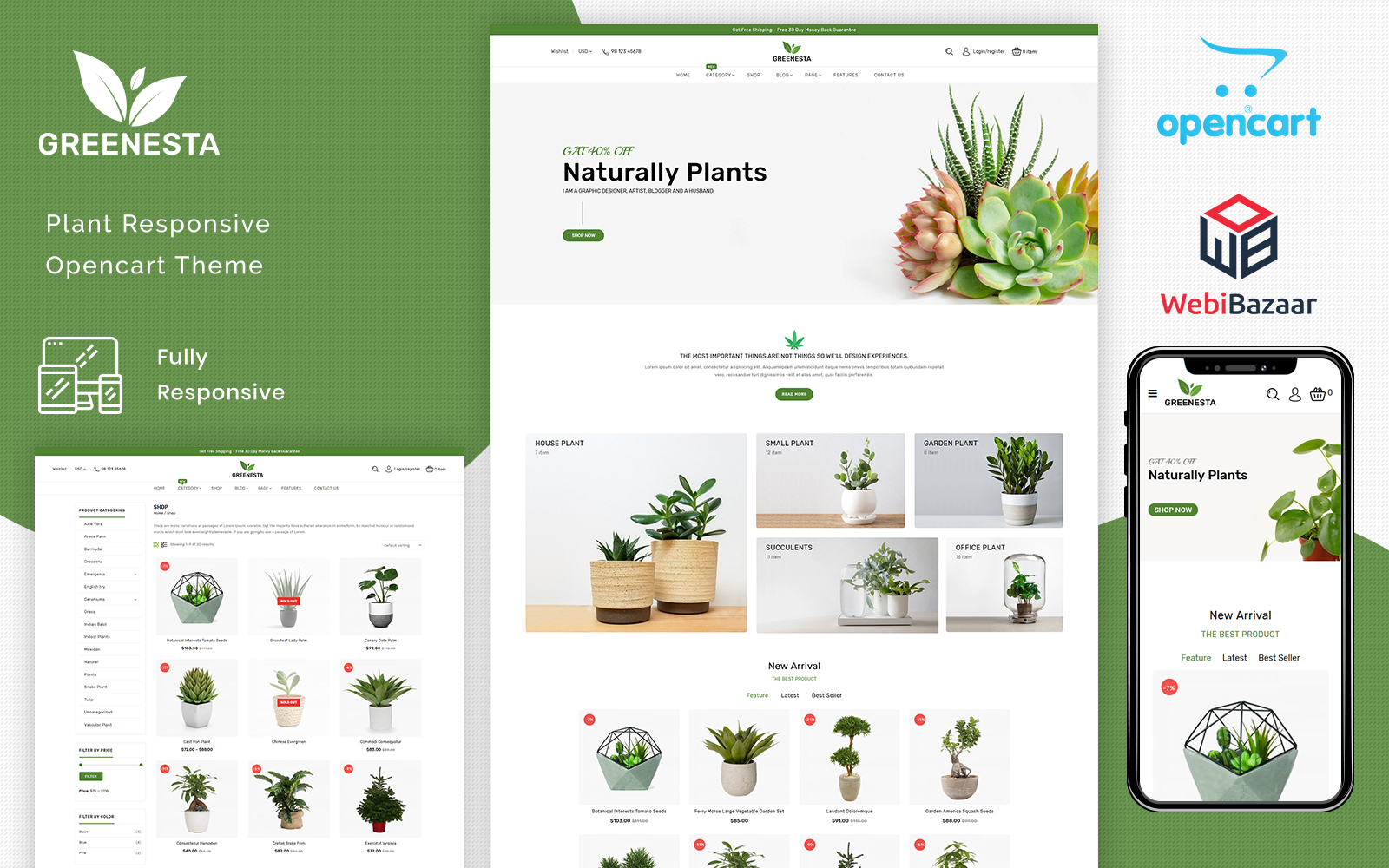 "Plantilla OpenCart ""Greenesta Organic - Food & Grocery Store"" #101270"