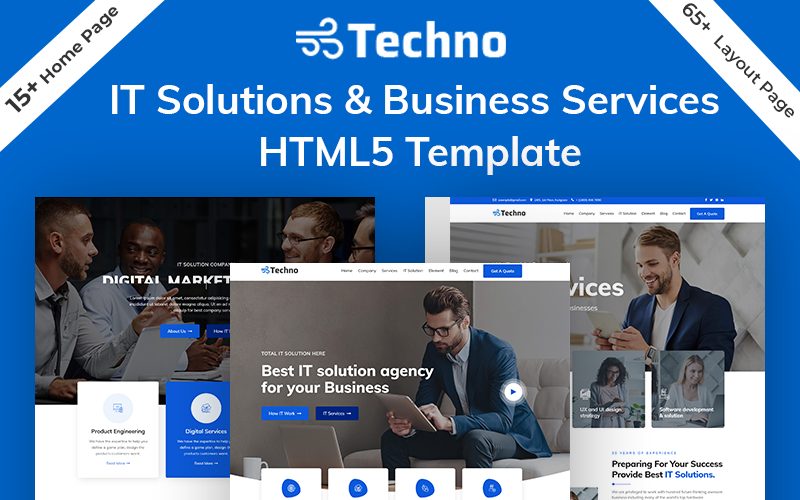 Responsive Techno-IT Solution & Business Services HTML5 Web Sitesi #101273