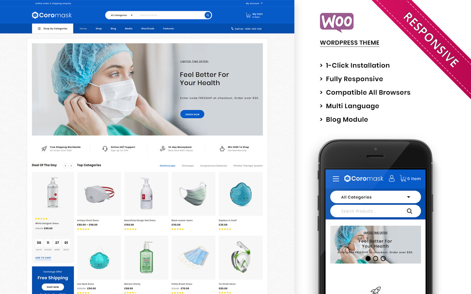 "WooCommerce Theme namens ""Coromask - The Premium Medical Responsive"" #101274"
