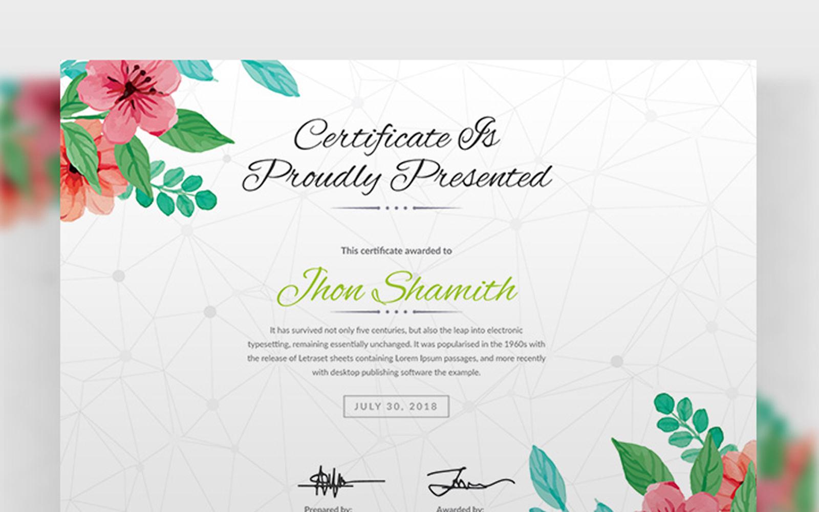 """Plantilla De Certificado """"Watercolor Design"""" #101346"""