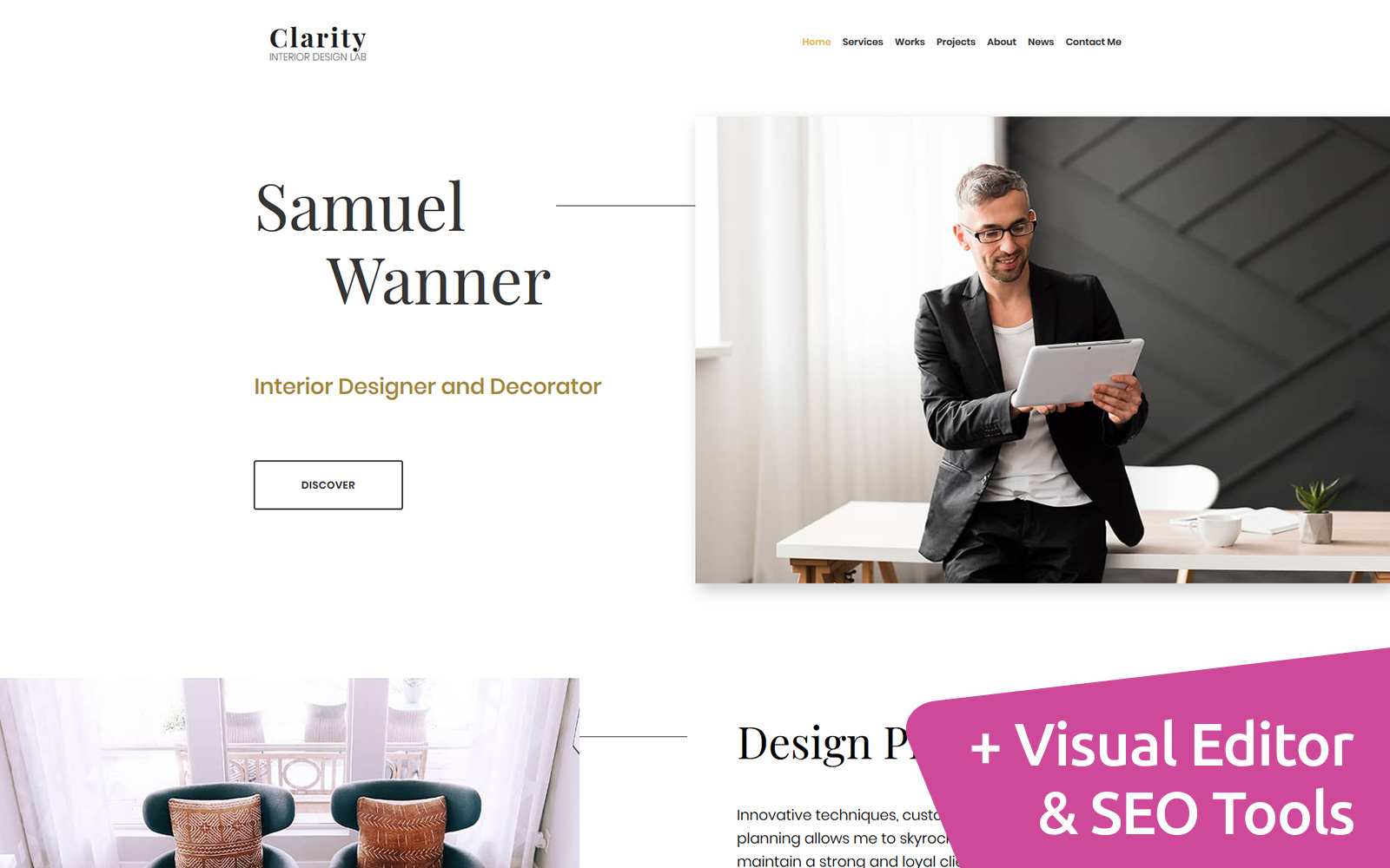 Clarity - Interior Design Moto CMS 3 Template