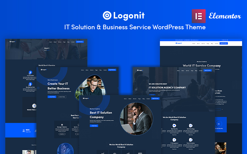 """Logonit - IT Solutions & Business Service"" - bootstrap WordPress шаблон №101473"
