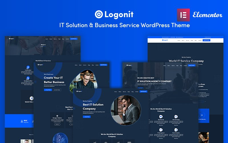 """""""Logonit - IT Solutions & Business Service"""" BootstrapWordPress模板 #101473"""
