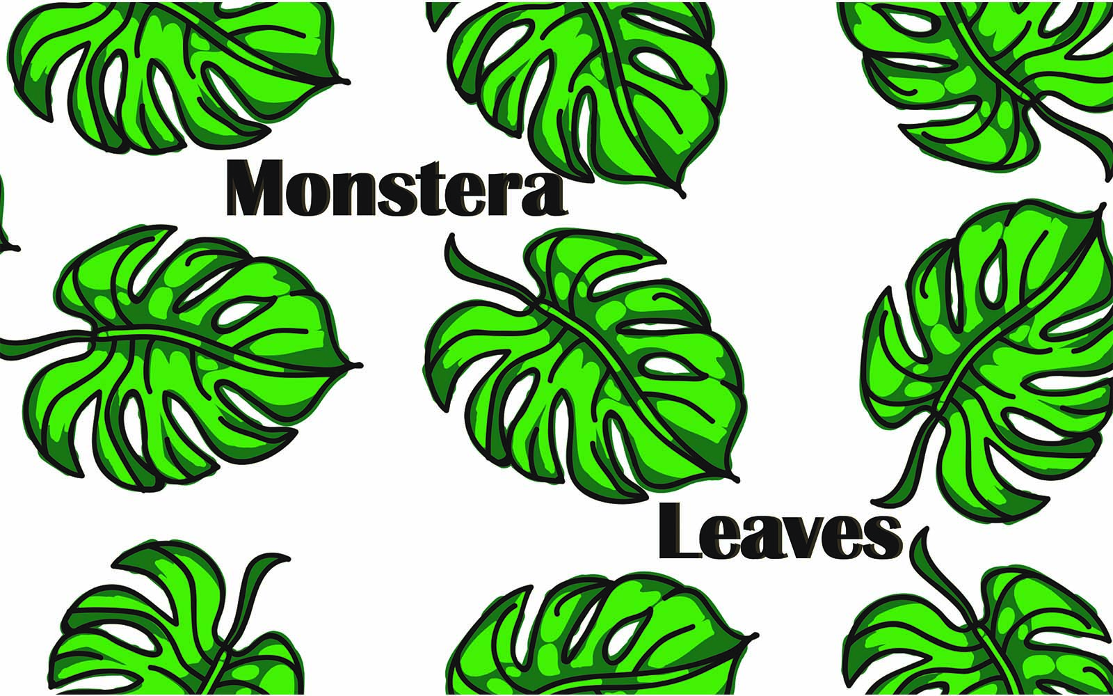 Monstera leaves Pattern №101481