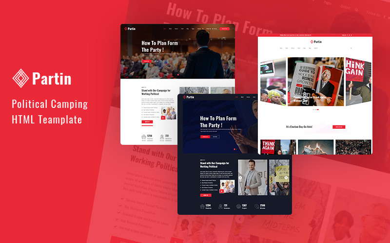 """""""Partin - Political Campaign and Party HTML5 Responsive"""" modèle web Bootstrap #101472"""