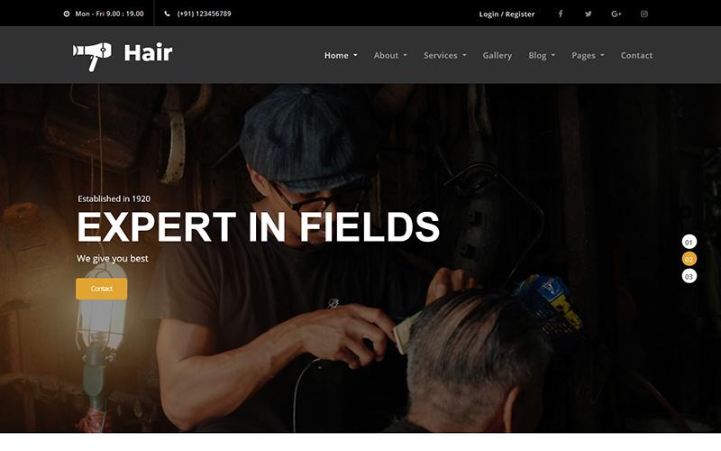 "Plantilla Web ""Hair - Barber HTML5"" #101474"