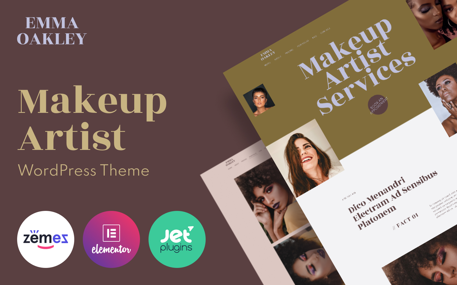 Responsywny motyw WordPress Emma Oakley - Makeup Artist #101486