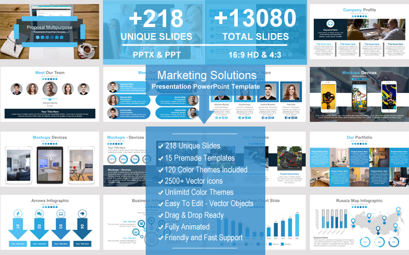 "Modello PowerPoint #101576 ""Marketing Solutions"""