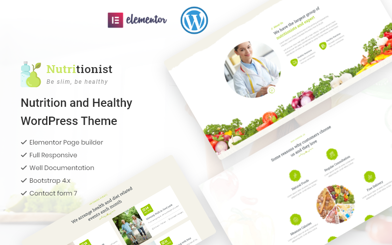 """Nutritionist - Health and Nutrition Multipurpose Elementor"" Responsive WordPress thema №101563"