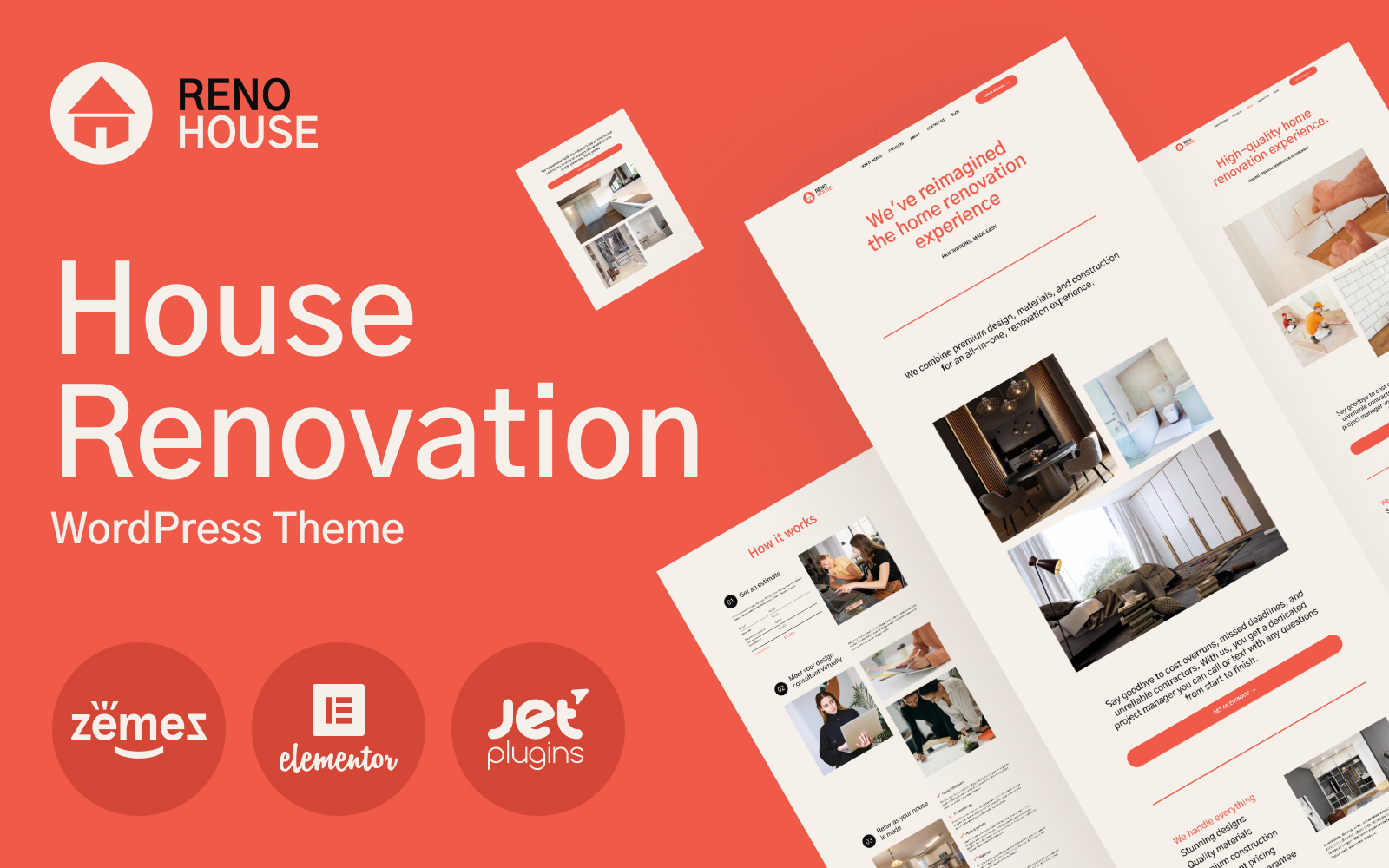 """RenoHouse - Modern Construction Project Website"" Responsive WordPress thema №101566"