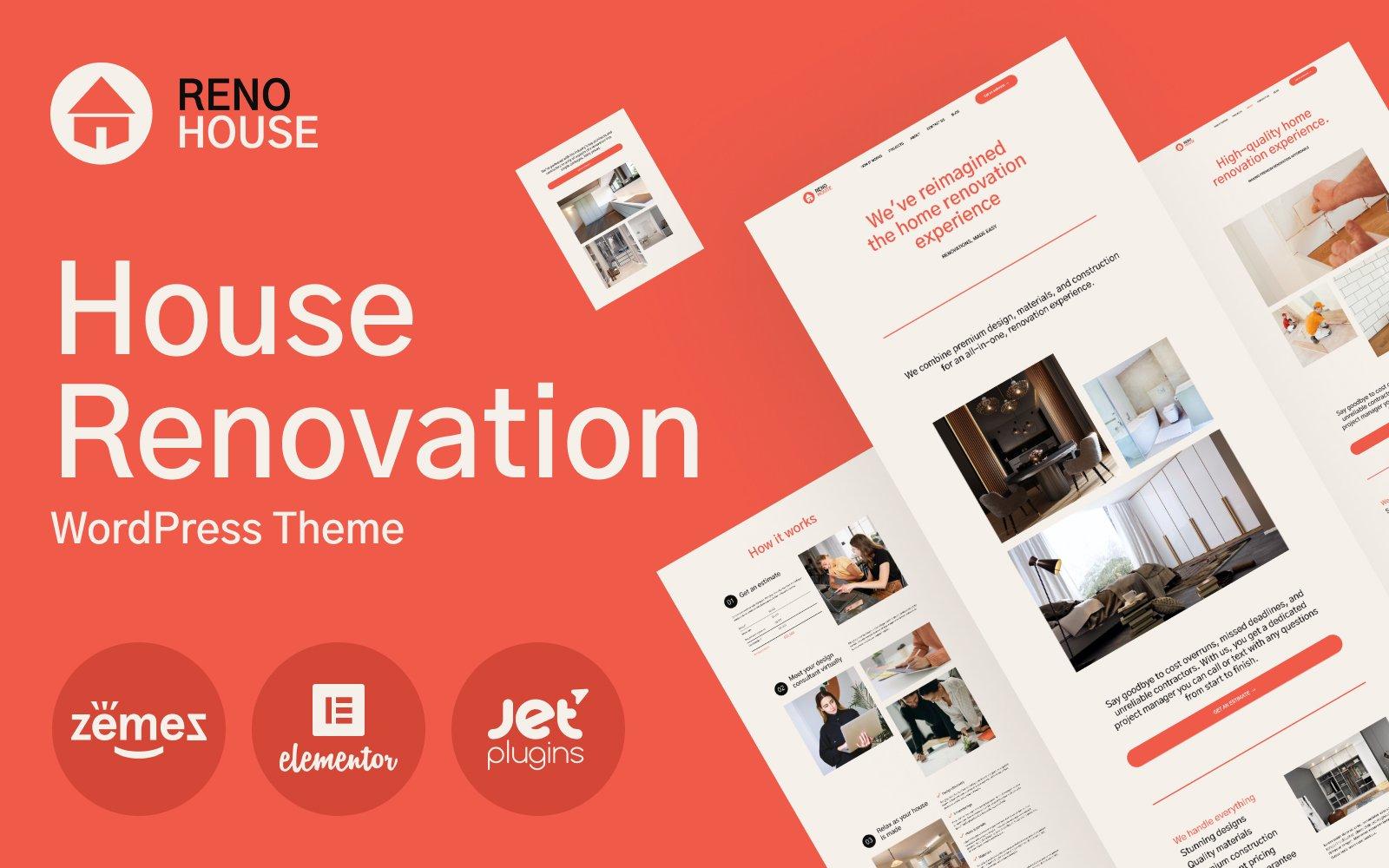 Responsivt RenoHouse - Modern Construction Project Website WordPress-tema #101566