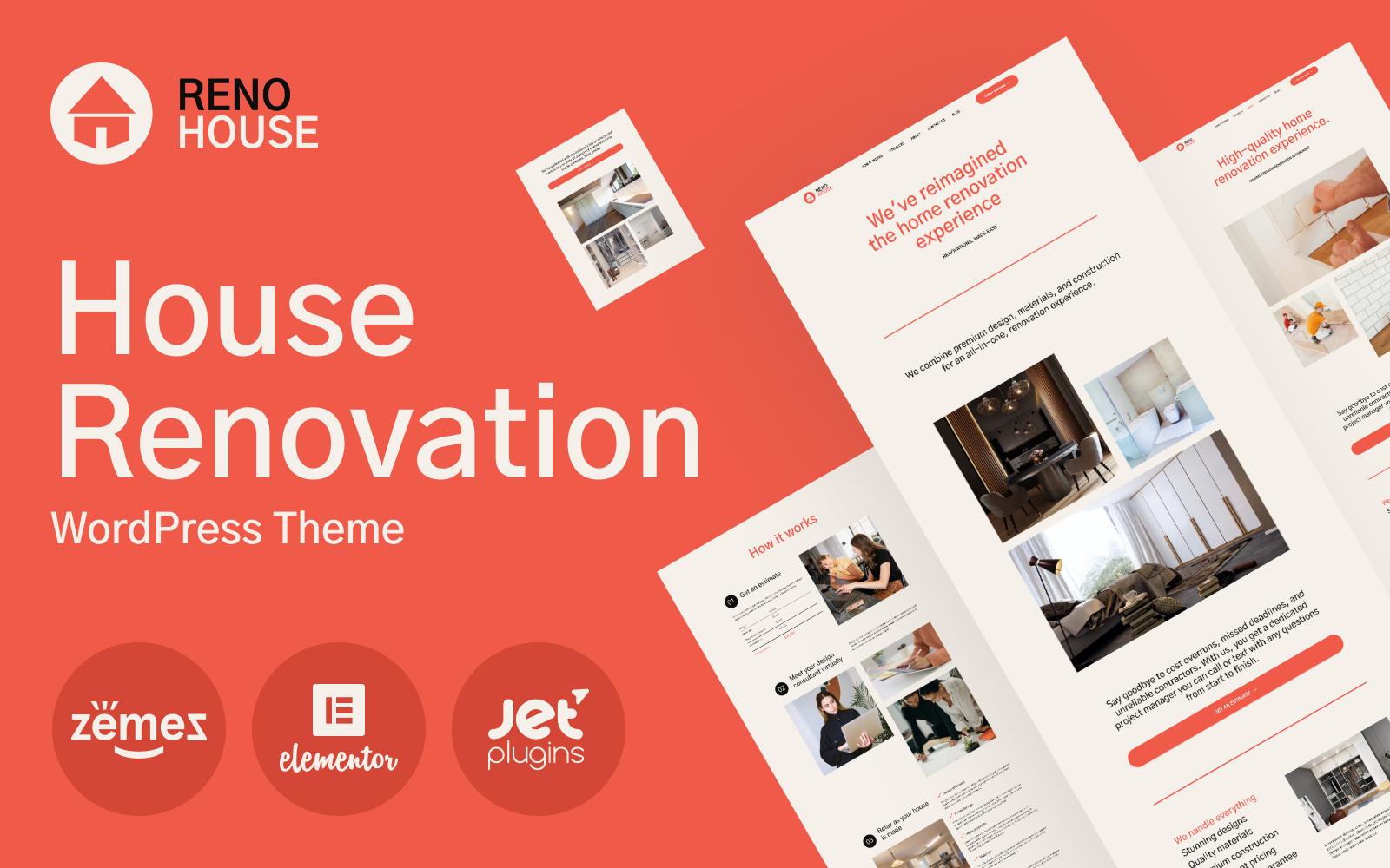 "Template WordPress Responsive #101566 ""RenoHouse - Modern Construction Project Website"""