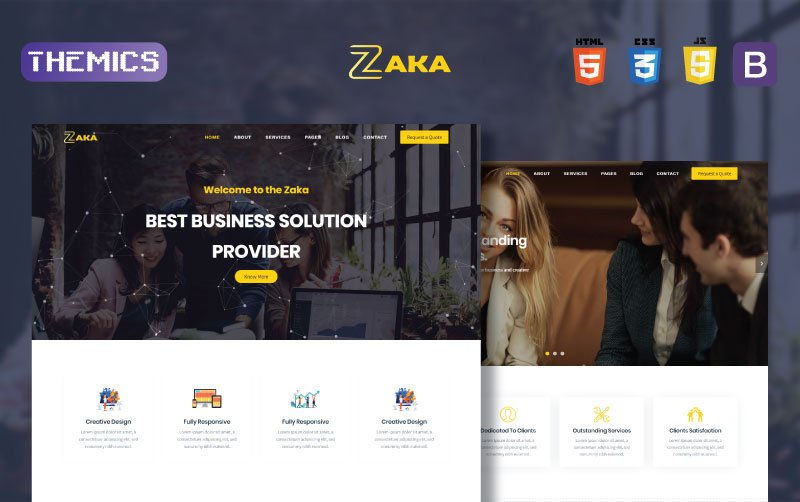 """Zaka - Business & Corporate HTML5"" 响应式网页模板 #101567"