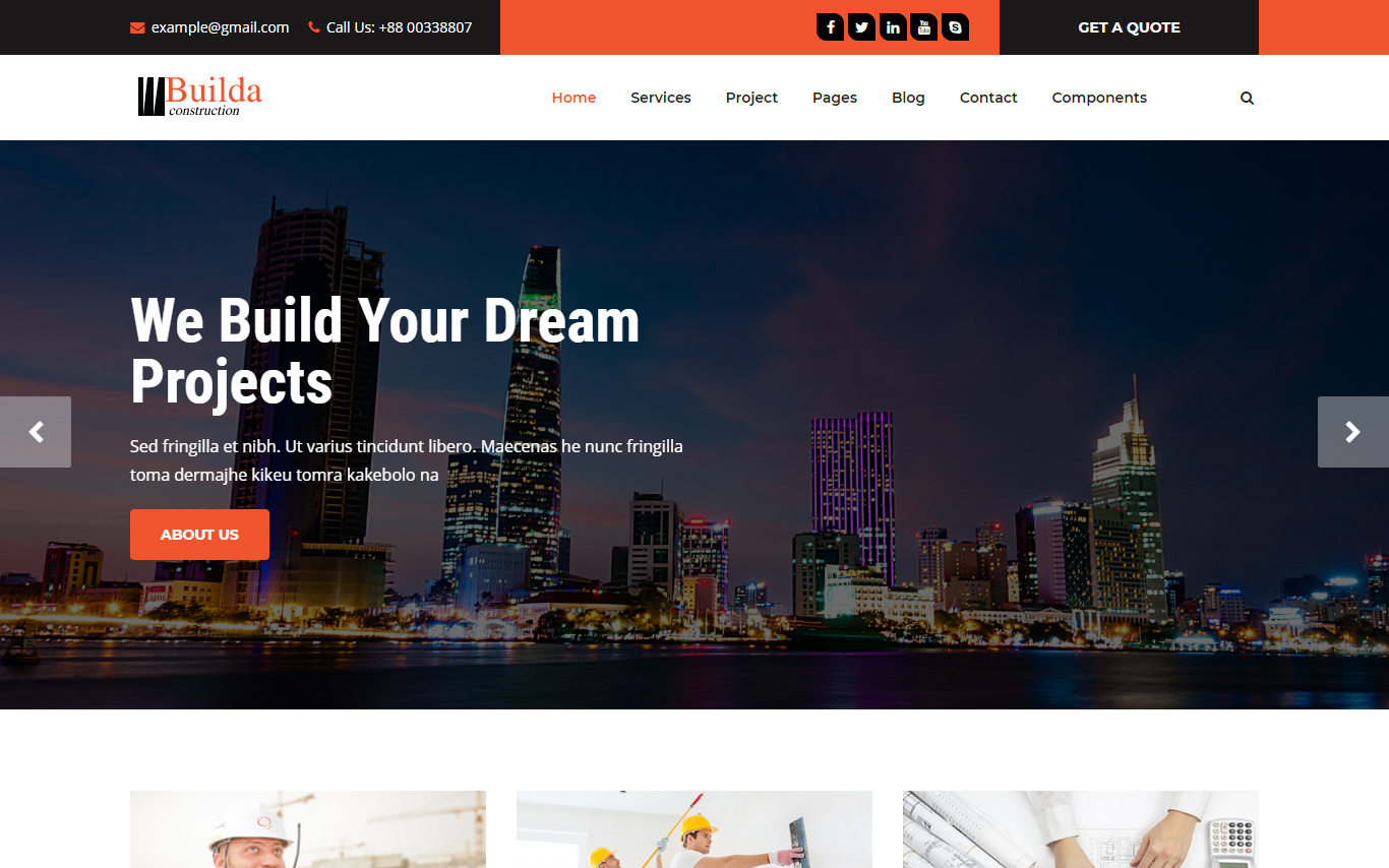 builda - Construction company bootstrap Website Template