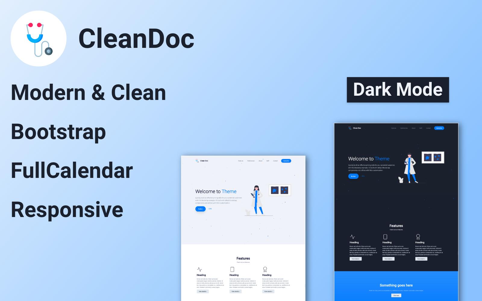 """""""CleanDoc"""" - адаптивний Шаблон цільової сторінки №101674"""