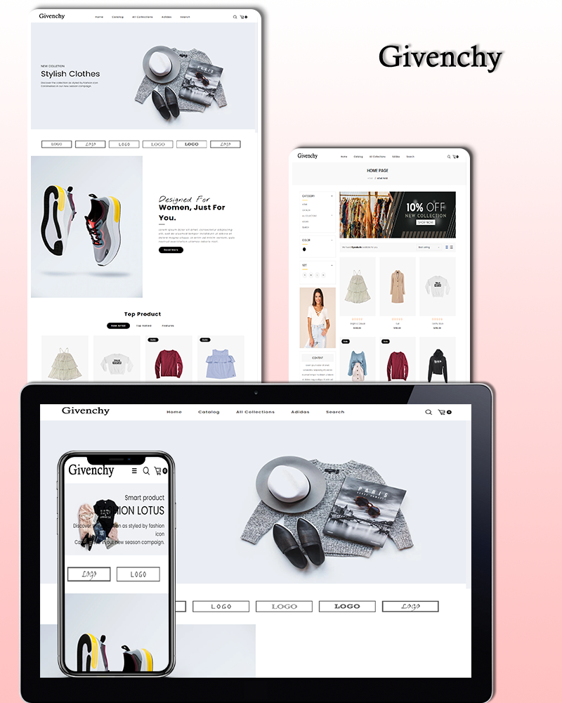 """Givenchy - Fashion"" - адаптивний Shopify шаблон №101669"