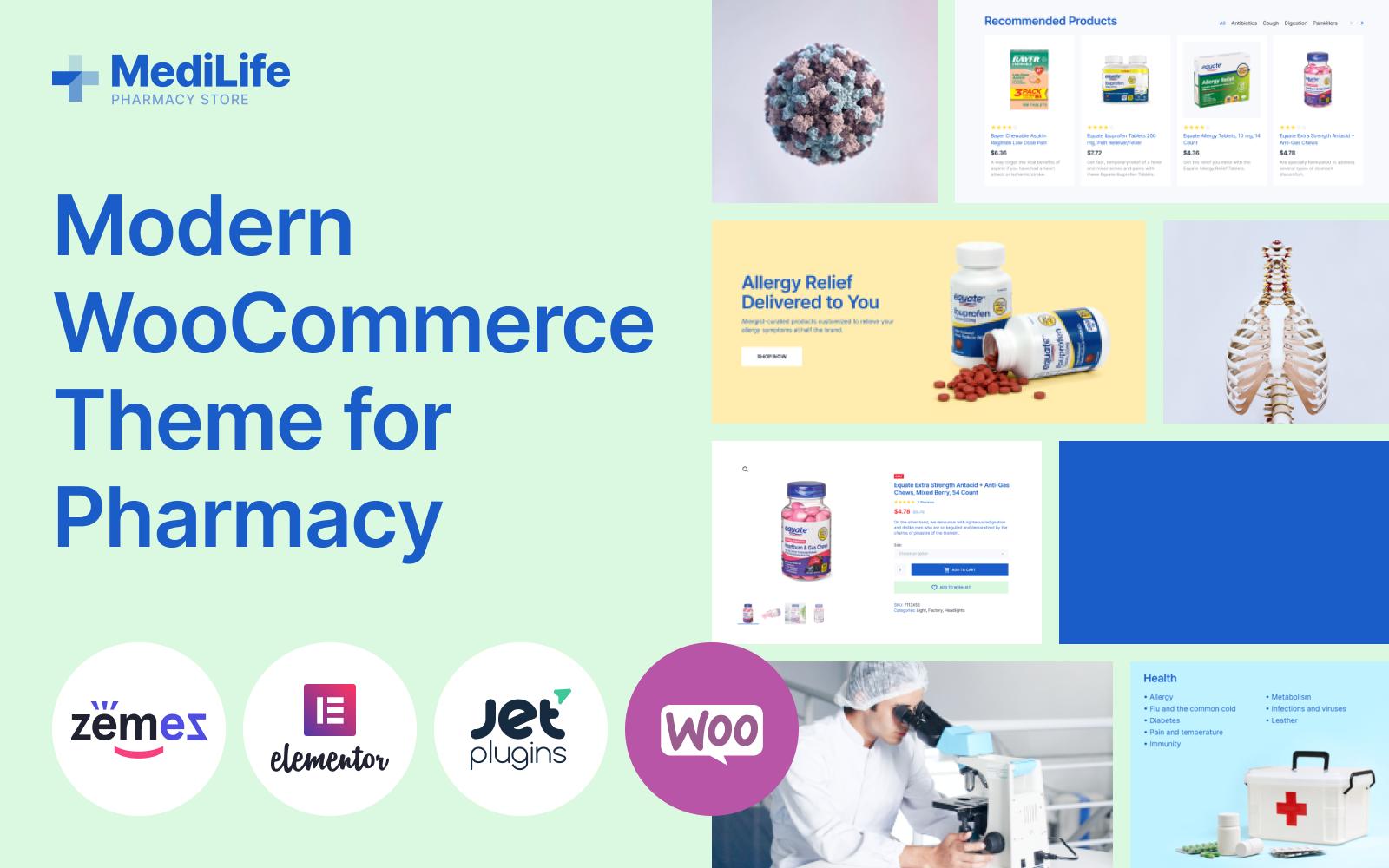 """MediLife - Clean Pharmacy Elementor"" Responsive WooCommerce Thema №101677"