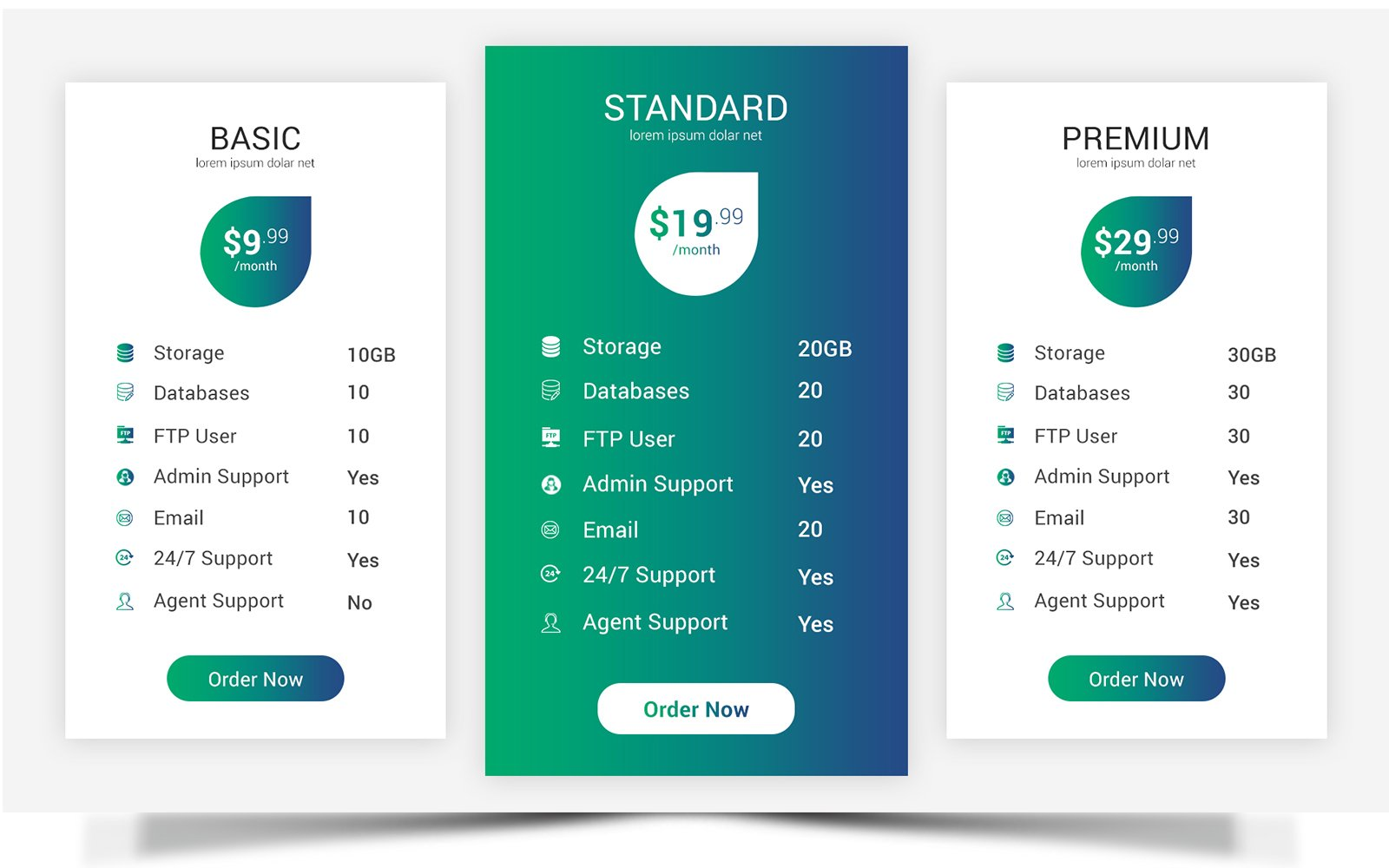 Modern - Pricing Table Corporate Identity Template