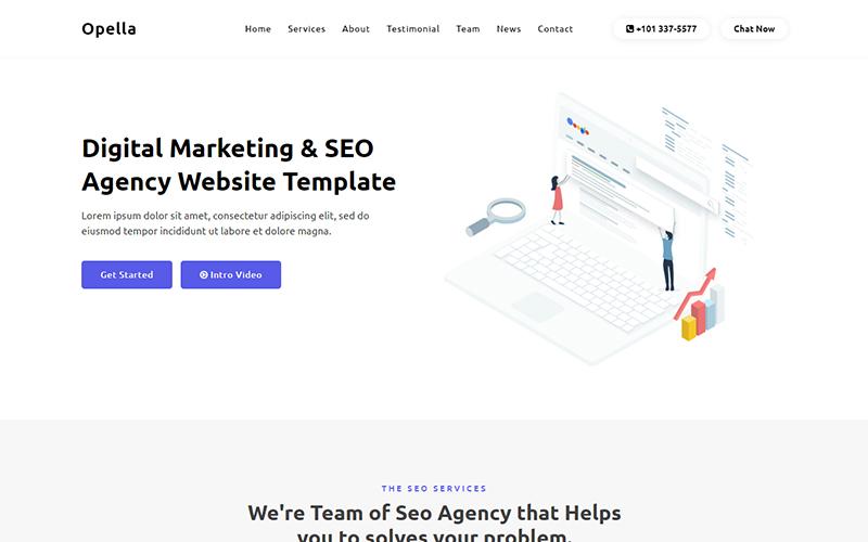 """Opella - SEO Agency Website"" 响应式着陆页模板 #101676"