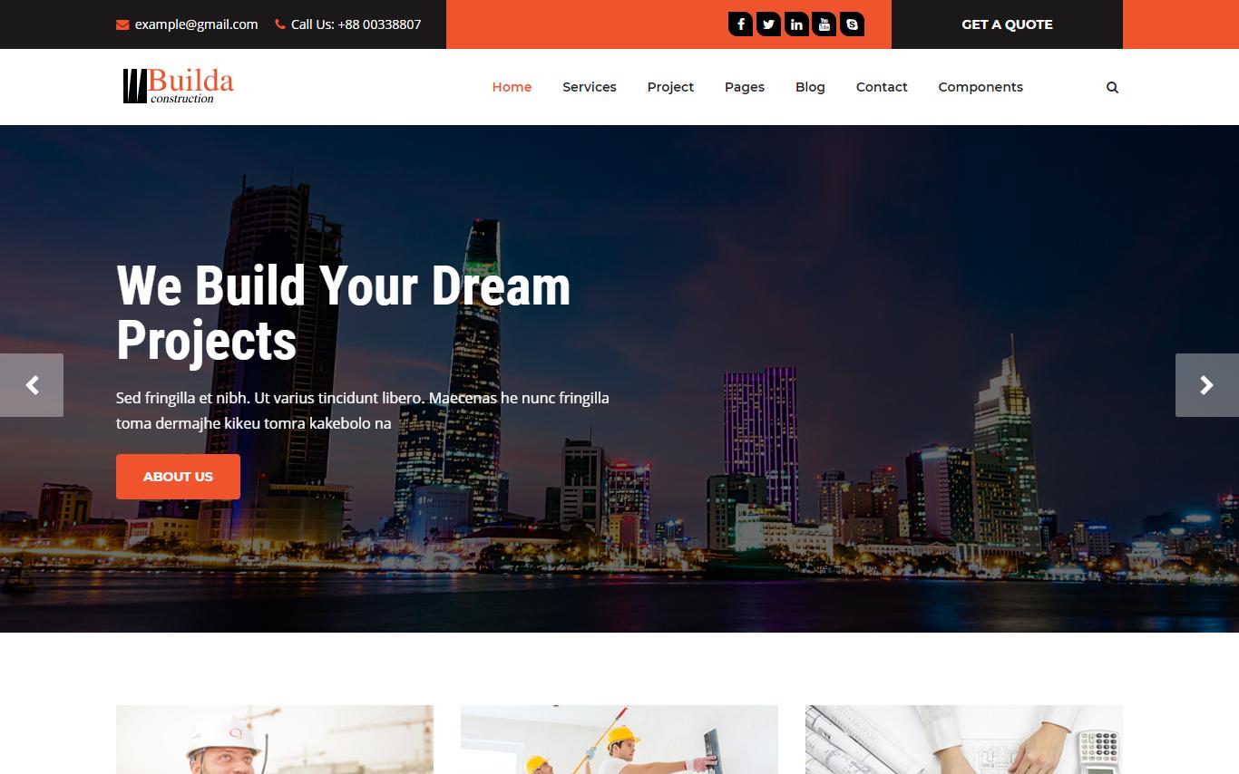 Szablon strony www Builda - HTML5 Construction & Business #101671
