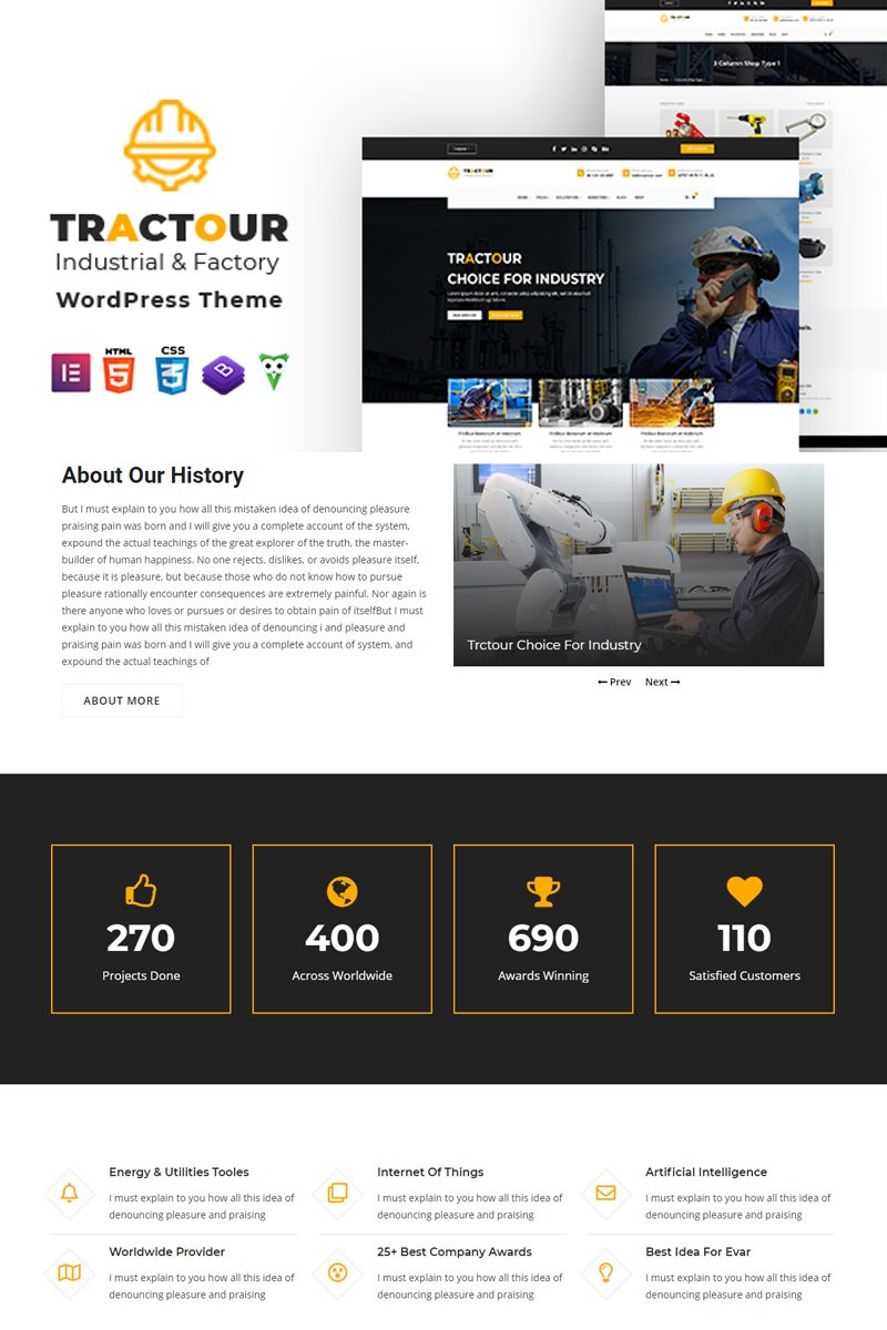 """Tractour - Industrial / Manufacturing"" thème WordPress adaptatif #101670"