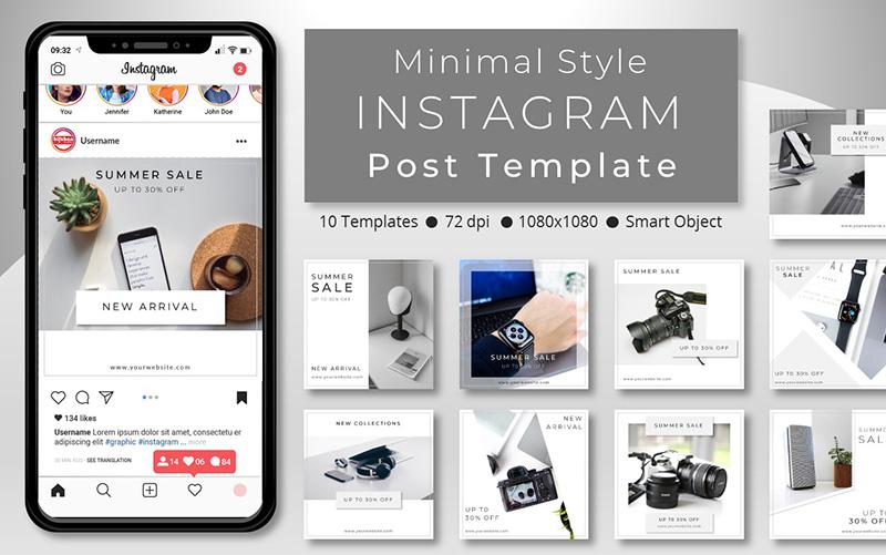 10 Unique Minimal Style Promotional - Instagram Post Template Social Media