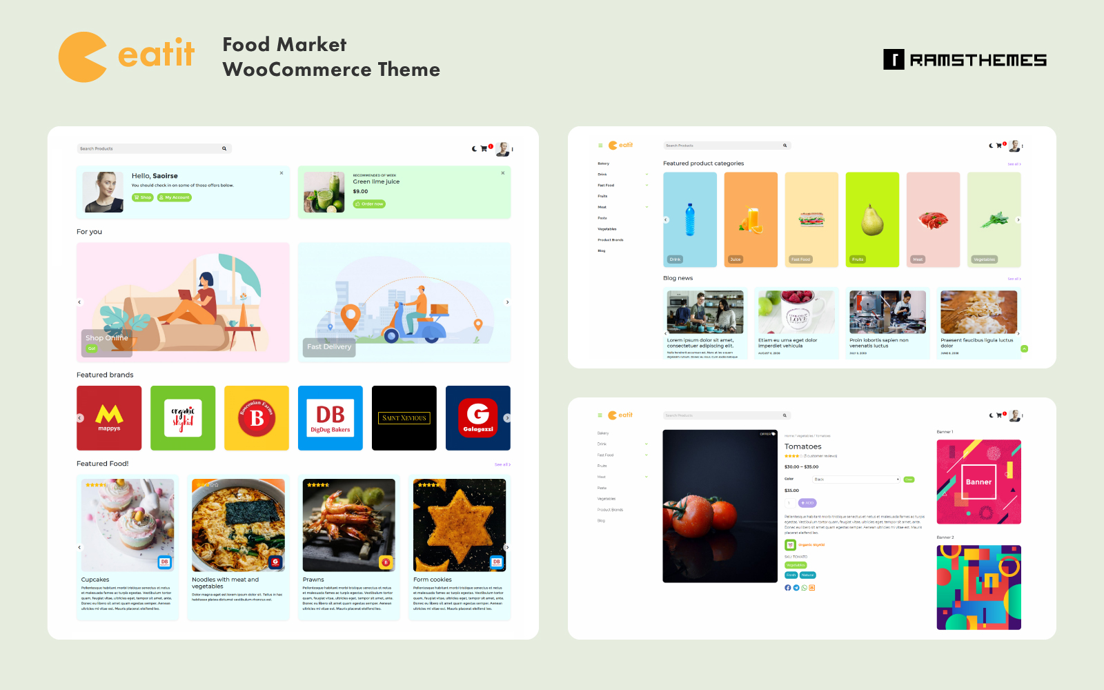 """""""EATIT - Food Market"""" - адаптивний WooCommerce шаблон №101711"""