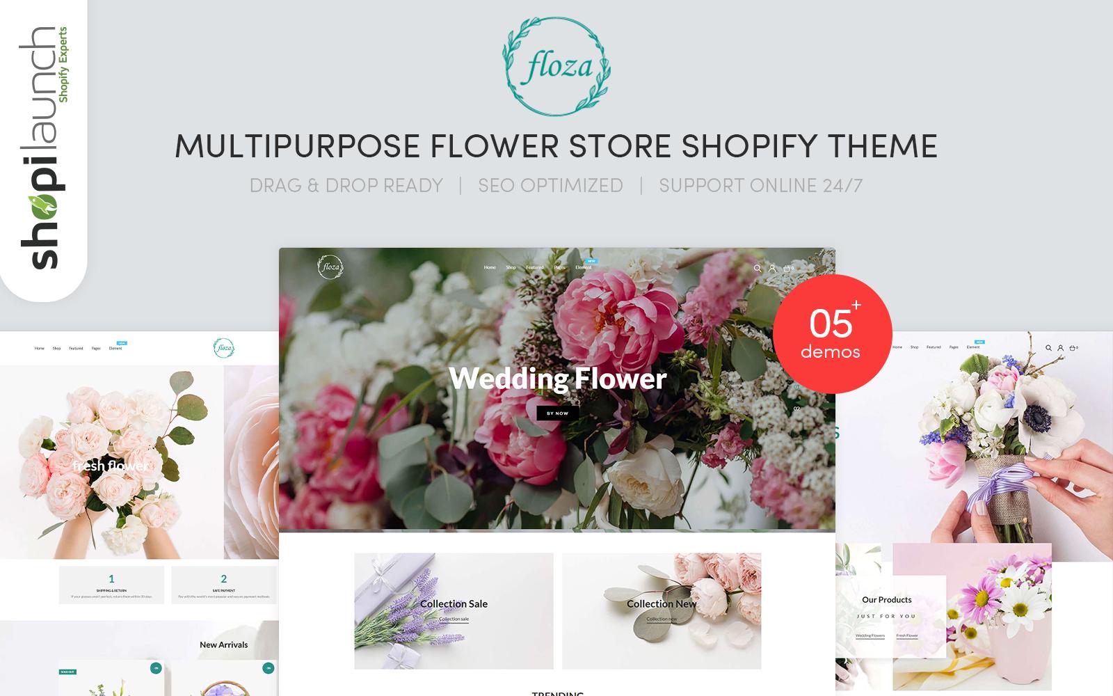 """Floza - MultiPurpose Flower Store"" - Shopify шаблон №101712"