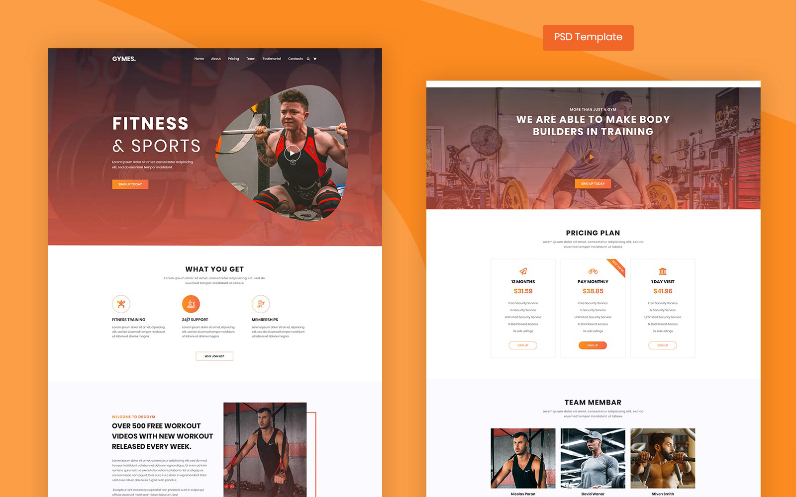 Gymes - Fitness and Gym PSD Template Photoshop №101765