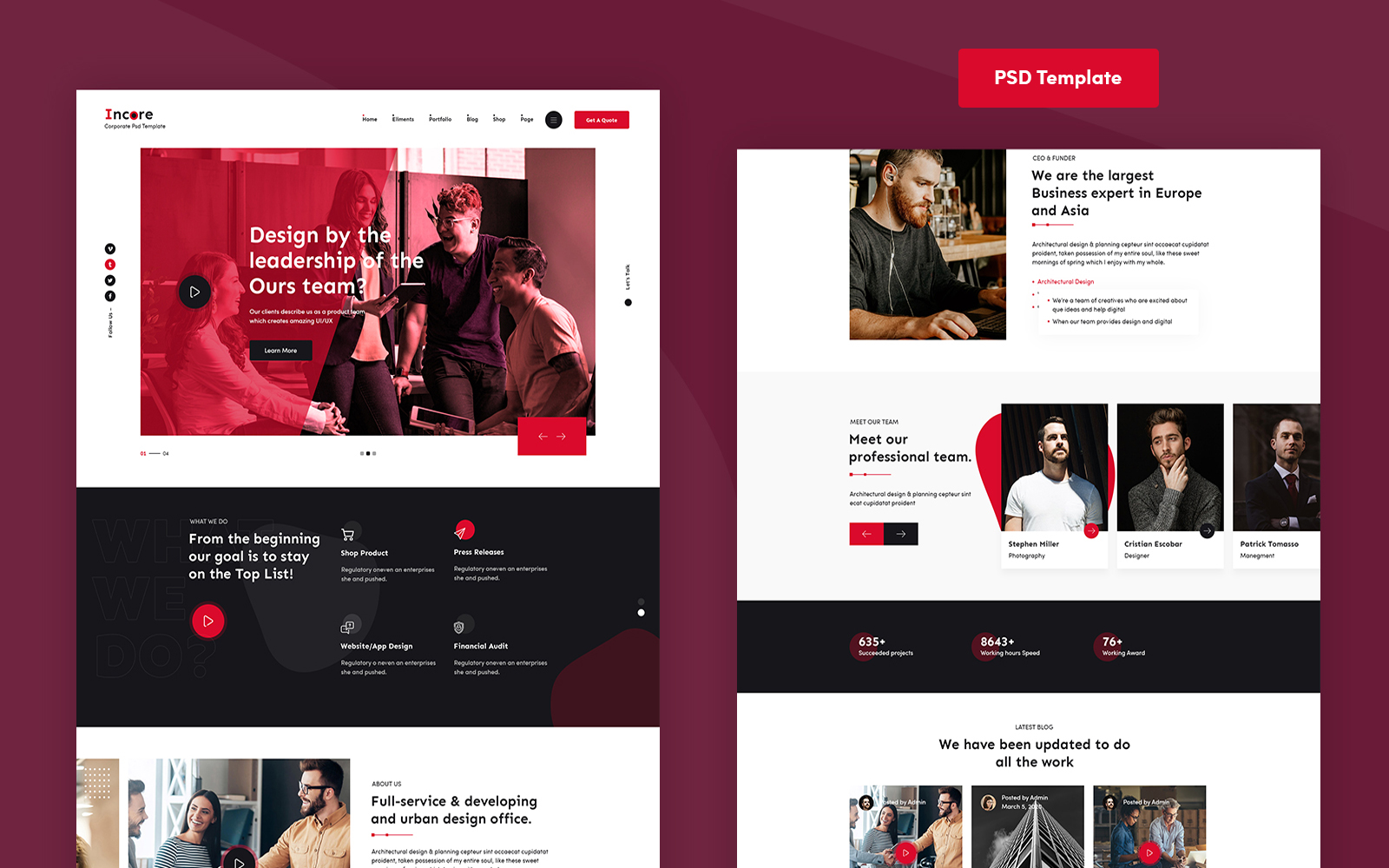 Incore - Corporate PSD Template
