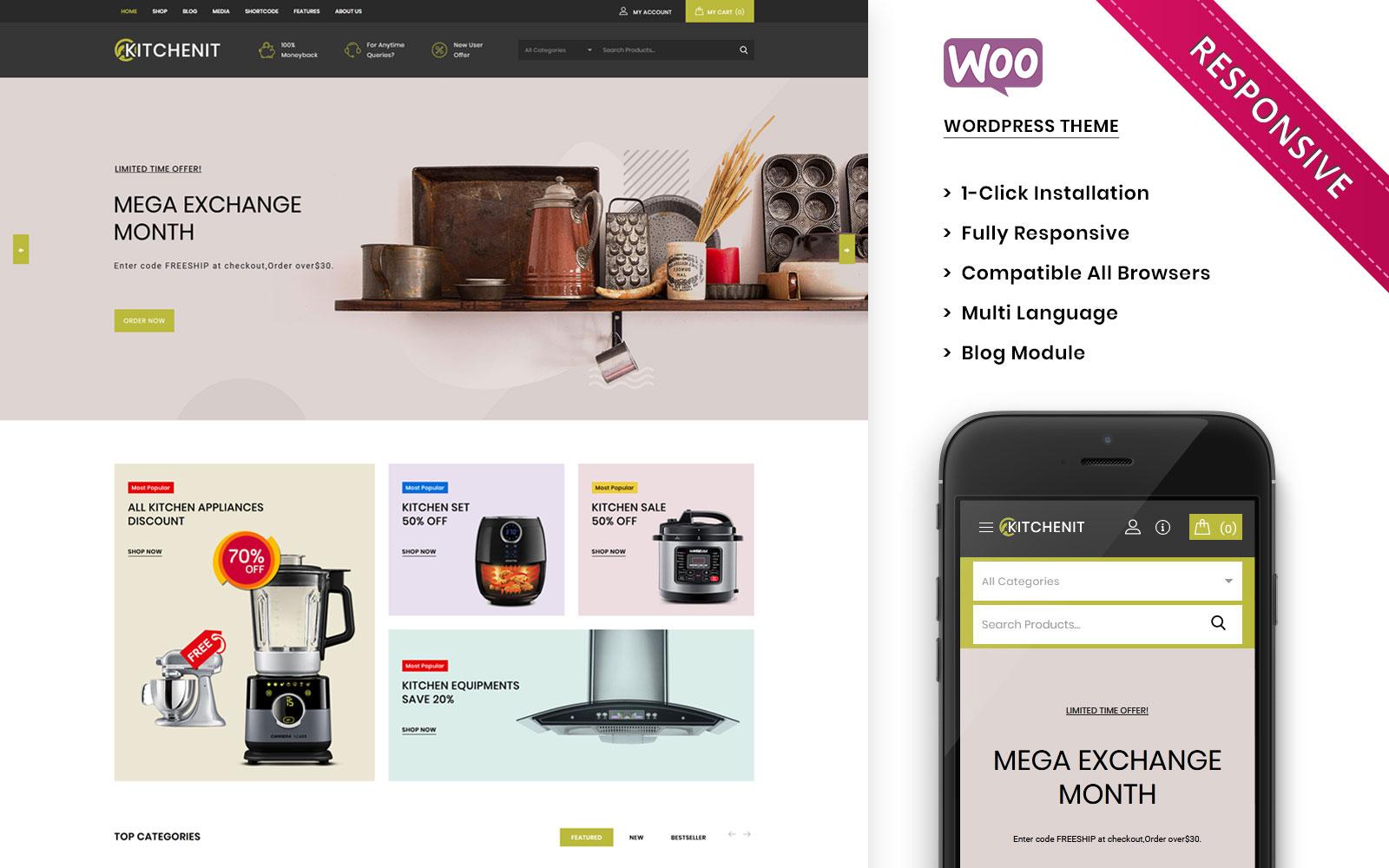 """""""Kitchenit -  The Mega Kitchen Store Premium"""" Responsive WooCommerce Thema №101768"""